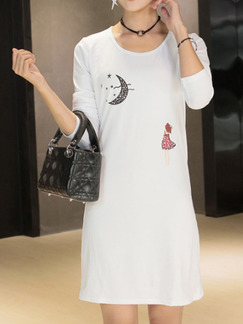 White Shift Above Knee T-Shirt Long Sleeve Dress for Casual