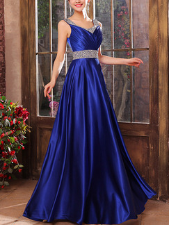 Blue Maxi Plus Size Slip Sequin Gown Dress for Bridesmaid Prom Ball