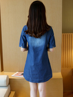 Blue Shift T-Shirt Denim Above Knee Plus Size Dress for Casual