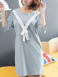 Grey Shift Above Knee Dress for Casual  On Sale