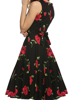 Black Fit & Flare Floral Knee Length Plus Size Dress for Evening Party Cocktail On Sale
