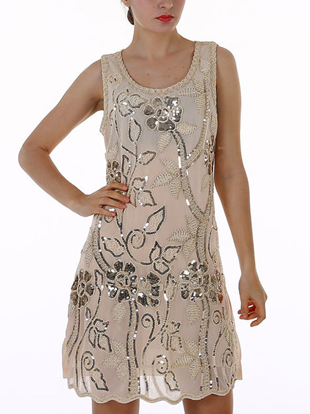 Nude Shift Floral Sequin Above Knee Dress for Party Evening Cocktail