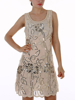 Beige Shift Floral Sequin Above Knee Dress for Party Evening Cocktail