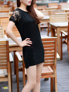 Black Bodycon Lace Above Knee Plus Size Dress for Casual Party Evening On Sale