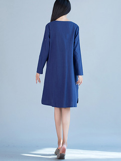 Blue Shift V Neck Knee Length Long Sleeves Plus Size Dress for Casual  On Sale