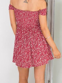 Red Fit & Flare Floral Off Shoulder Above Knee Plus Size Dress for Casual Party On Sale