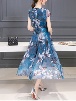 Blue Midi V Neck Plus Size Fit & Flare Floral Dress for Party Evening Cocktail