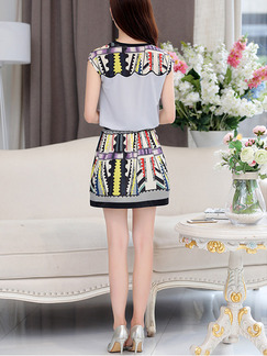 Grey and Colorful Shift Above Knee Plus Size Dress for Casual Party Evening On Sale