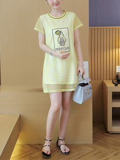 Yellow Shift Cute Plus Size T-Shirt Above Knee Dress for Casual  On Sale