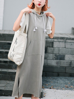 Grey Midi Shift Plus Size Dress for Casual  On Sale