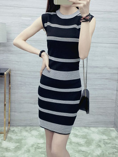 Black and White Bodycon Above Knee Dress for Casual Party Evening