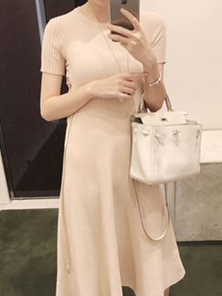 Nude Midi Knitted Dress for Casual Party Evening