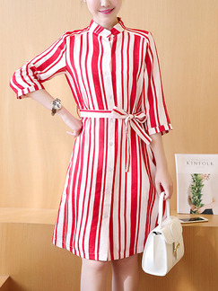 Red and White Shift Shirt Plus Size Knee Length Dress for Casual Office