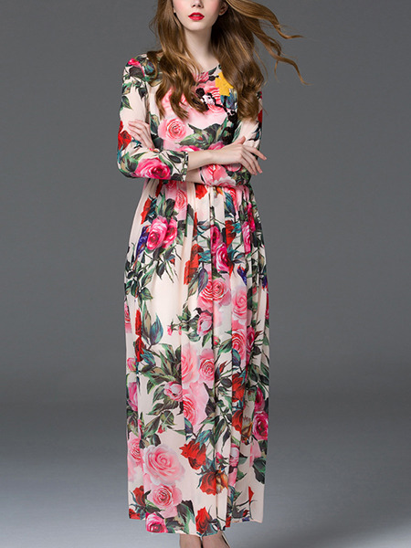 Colorful Maxi Plus Size Floral Cute Long Sleeve Dress for ...