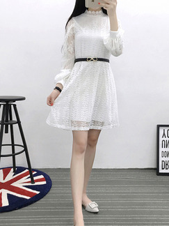 White Shift Lace Above Knee Plus Size Long Sleeve Dress for Casual Evening Office On Sale