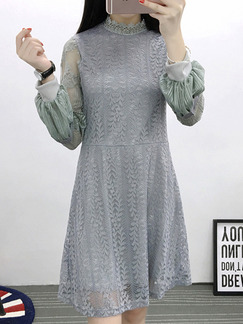 Grey Shift Lace Above Knee Plus Size Long Sleeve Dress for Casual Evening Office  On Sale