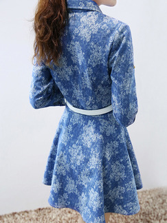 Blue Shirt Fit & Flare Floral Plus Size Long Sleeve Dress for Casual Office Evening  On Sale