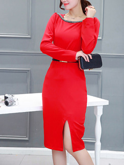 Red Sheath Plus Size Knee Length Long Sleeve Dress for Casual Office On Sale