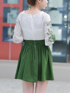 White and Green Above Knee Fit & Flare Plus Size Dress for Casual Party Evening  On Sale