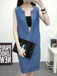 Blue Shift Knee Length Denim Dress for Casual  On Sale