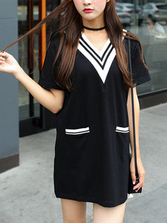 Black Shift T-Shirt V Neck Above Knee Dress for  Casual Party Evening