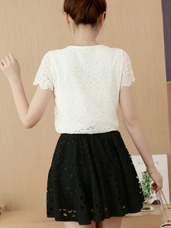 White and Black Colorful Lace Fit & Flare Plus Size Above Knee Cute Dress for Casual Party  On Sale
