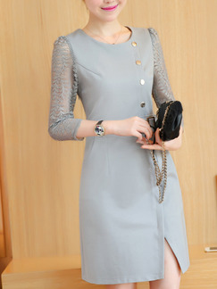 Grey Sheath Lace Plus Size Above Knee Dress for Casual Office Evening