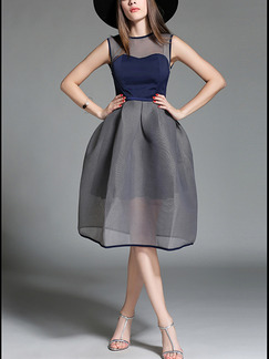 Blue and Grey Fit & Flare Knee Length Plus Size Dress for Evening Party Cocktail