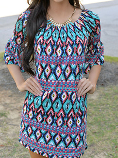 Colorful Shift Plus Size Above Knee Dress for Casual Beach On Sale