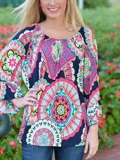 Colorful Shirt Long Sleeve Plus Size Top for Casual Beach On Sale