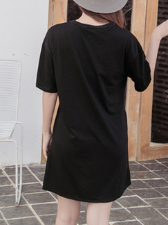Black Colorful Shift T-Shirt Above Knee Dress for Casual Evening