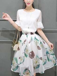 White Floral Fit & Flare Plus Size Knee Length Dress for Casual Party Evening Office On Sale