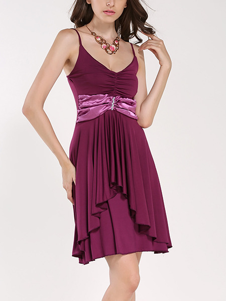 Purple Slip Plus Size Above Knee V Neck Fit & Flare Dress for Party Evening Cocktail On Sale