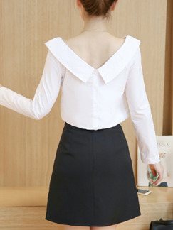 White and Black Two Piece Sheath Plus Size V Neck Long Sleeve Dress for Casual Office On Sale