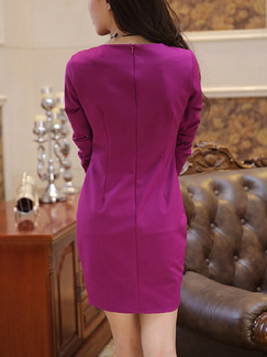 Purple Bodycon Plus Size Above Knee Long Sleeve Dress for Cocktail Party Evening On Sale