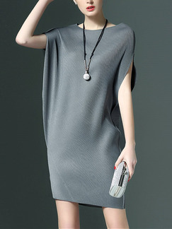 Grey Shift Above Knee Dress for Casual Party Evening