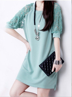 Green Shift Above Knee Lace Plus Size Knitted Dress for Casual Evening