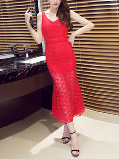 Red Midi Bodycon Lace Dress for Party Cocktail Evening On Sale