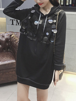 Black Shift Sequin Above Knee Long Sleeve Dress for Casual