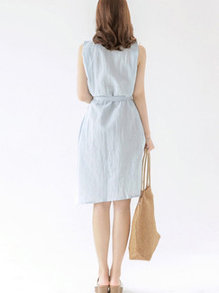 Blue Shirt Shift Knee Length Plus Size Dress for Casual On Sale