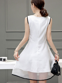 White Fit & Flare Plus Size Above Knee Dress for Casual Party Evening On Sale