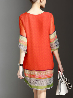 Orange Shift Plus Size Above Knee Dress for Casual Party Evening