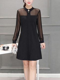Black Shift Above Knee Plus Size Long Sleeve Dress for Casual Office On Sale