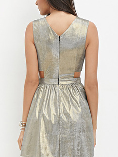 Silver Fit & Flare Above Knee V Neck Dress for Party Evening Cocktail On Sale