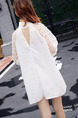 White Shift Above Knee Long Sleeve Halter Lace Dress for Casual Evening Party