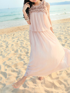 Nude Maxi Lace Plus Size Dress for Casual Beach On Sale