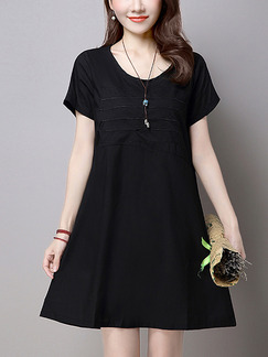 Black Shift Plus Size Above Knee Dress for Casual Evening Party