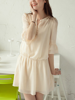Cream Fit & Flare Plus Size Cute Above Knee Dress for Casual