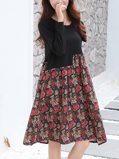 Black Red Floral Shift Plus Size Long Sleeve Above Knee Dress for Casual Evening On Sale