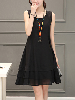 Black Shift Above Knee Plus Size Dress for Casual Party Evening On Sale